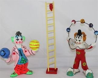 Handpainted Paper-Mâché Clown with Balls, Vintage Stanley Home Products Clown on Ladder Mobile and  Paper Mâché Juggling Clown.