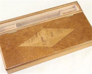 Vintage Oak Veneers Men's Valet Jewelry Box