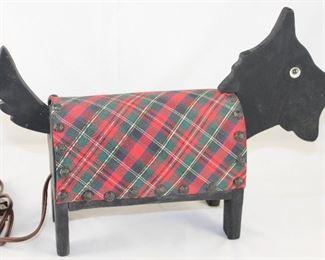 "Vintage Wooden with Scottish Plaid Fabric Scottie Dog TV Lamp (15""L x 4 3/4""D)"