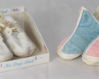 Mrs. Days Ideal Infant White Crib Shoes and Pink & Blue Booties