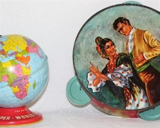"Vintage 1960's Tin Made in USA World Bank Globe (5"") and Tin Toy Tambourine 56""D)"