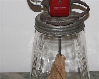 Antique 4 Quart Glass Jar Butter Churn