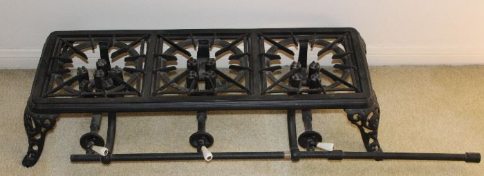 Antique Cast Iron 3-Burner Table Top Camp Stove with Enamel Handles