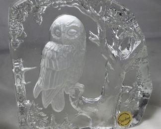 Vintage Goebel West Germany Intaglio Large 24% Bielkristall Crystal Owl