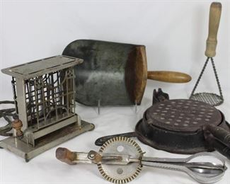 "Antique & Vintage Kitchenware: ""The Eclipse""  Compton & Co. Electric Toaster, Antique "" Wikbake"" Wrightsville Hardware Co. Antique Cast iron Waffle Maker, AJ Echo High Speed Super Center, Drive Beater c.1936 Pat# 2049727 - Antique Wooden Handle Galvanized Scoop - vintage 1030's Wood Handle Wire Mesh Potato Masher/Ricer"