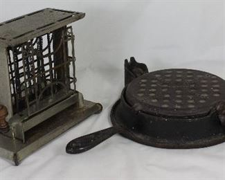 """The Eclipse""  Compton & Co. Electric Toaster. Only one side of the toast at a time. With knobs will allow you to flip the bread around so that it would toast the other side (c. 1893)  - Antique "" Wikbake"" Wrightsville Hardware Co. Antique Cast iron Waffle Maker"