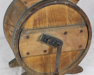 Antique Wooden 19th-Century Hand Crank Butter Churn