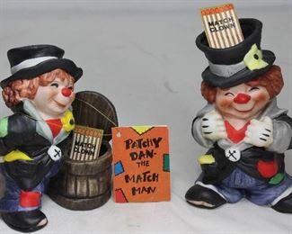 """Patchy Dan"", The Match Man Bisque Porcelain Clown Match Safe Figurines"