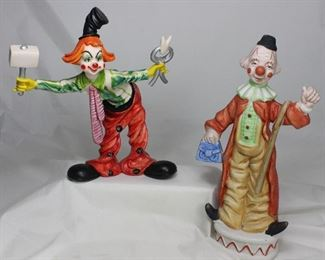 "Clown ""Dentist"" Figurine (8.5"") and Bisque Porcelain Clown with Cane & Bag (10"")"