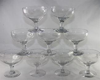 Cut StarburstSherbet/Low Champagne  Crystal Depression Era Stemware (Set of 8)