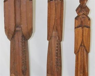"Vintage Hand-carved Wooden Monk Statues:   18"", 17.5"" & 14.5"""