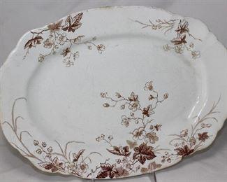 "John Edwards Porcelaine De Terre ""Charm"" Brown Transferware Platter( 14 1/2"") England"
