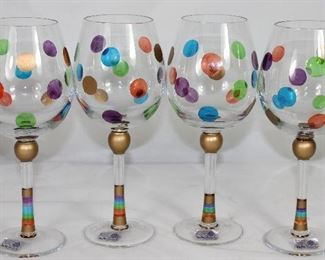 MoMo Panache Handmade Mouth Blown Cut Crystal Polka Dot Wine Stems (Set of 4).  Made in Romania