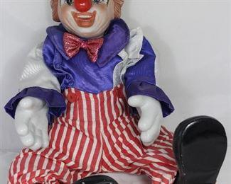 """Porcelain Musical 20"""" Clown Doll """"Bring in The Clowns"""""""