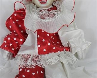 "Porcelain Clown in Red and White (20"")"