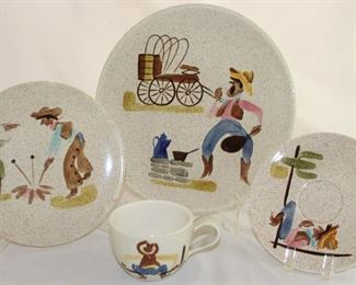 "Red Wing Pottery ""Roundup"" 1958 Hand Painted 4 Piece Place Setting: Dinner Plate, Salad Plate and Cup & Saucer"