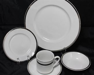 "Alfred Clough Staffordshire England ""Satin White"" China:  Dinner Plates (9 ea.), B&B Plates (8 ea.), Dessert Bowls (8 ea.) Cups (5 ea.) and Saucers (8 ea.)"