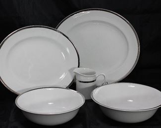 "Alfred Clough Staffordshire England ""Satin White"" China: 12"" Platter, 14"" Platter, 9"" Vegetable Bowl, 8"" Vegetable Bowl and Creamer"