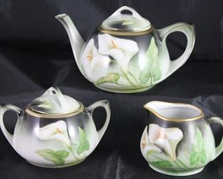 "Reinhold Schlelemil - RS Germany ""Calla Lily"" Antique  Teapot, Sugar and Creamer"