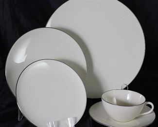"Lenox ""Olympia"" Platinum  Rim Ivory China:  Dinner Plates (7ea.), Salad Plates (6 ea.), B&B Plates (3 ea.), Cup & Saucers(9 ea.)"