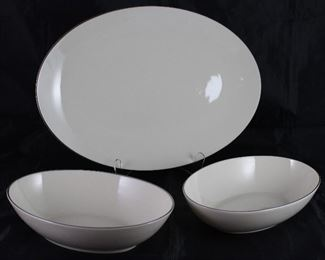 "Lenox ""Olympia"" Platinum  Rim Ivory China:  16"" Platter and 9"" Oval Vegetable Bowl (2 ea.)"