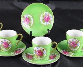 Antique Porcelain Rose Demitasse Cups and Saucers (5 sets w/extra saucer)