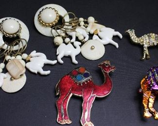 Faux Ivory Camel Fetus Dangle Pierced Earrings and Camel Enamel and Rhinestone Pins