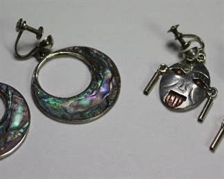 I gave 1940- 50's Sterling Screwback Earrings: Abalone Loops and Aztec Mask