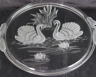 Mikasa Cake Plate, Vintage Walter West Germany Frosted Swan Handles, Swans and Water Lilies Crystal 12 1/2""