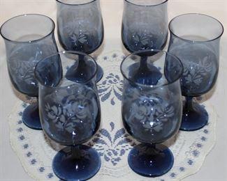 "Pfaltzgraff ""Yorktowne"" Blue 8 oz. Wine Glasses"