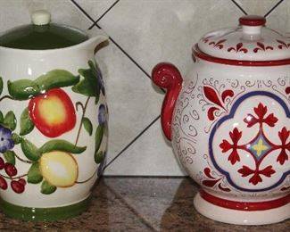 Exclusively Designed for Nonni's Hand Painted Ceramic Pitcher with Lid and Red and White Biscotti Canister
