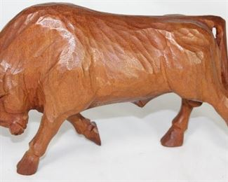 "Jose Pinal (1913-1983) El Toro Wood Carved Statue c. 1970's (6""H x 10"")"