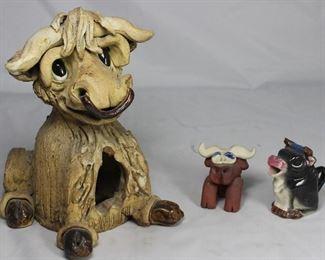Free Form Pottery Signed Caricature  Bull Ashtray  Terra-cotta Bull Pot Sitter.  Vintage Japan Bull Creamer