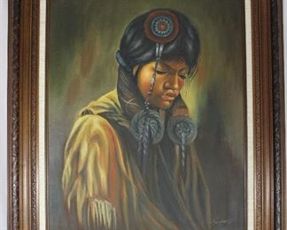 "C. Jefares Original Oil on Canvas Indian Youth in Linen Matted Frame (20 1/2"" x 25"")"