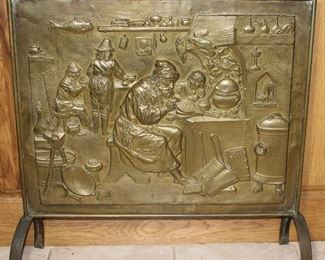 "Vintage Brass Embossed Tavern Scene Fireplace Screen (27""W x 21 1/2""H) on 6"" Cast Iron Legs"