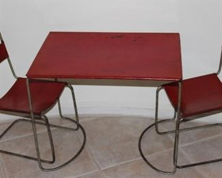 Child's Red Metal Table and Chair Set Attributed to Marcel Breuer c.1940's