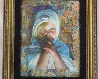 """The Cloak"" by Tom de Bois Limited Edition Giclee on Canvas 13"" x 17"" in Gold Finish Frame"