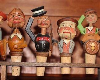 Vintage 1950-60's West Germany Wood Carved Mechanical Wine Bottle Corks