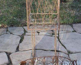 Wire Ornamental Metal Standing  Bird Cage and Tin and Wire Pig Plant Holder