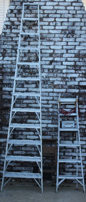 Aluminum Step Ladders; 12 Foot and 6 Foot & Small Wood Step Ladder