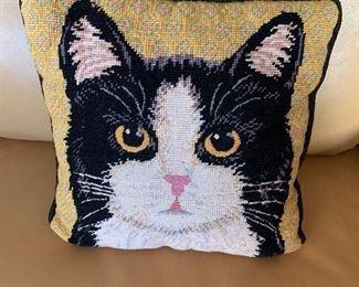 kitty needlepoint pillow