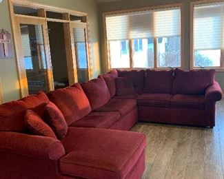 red upholstered sectional