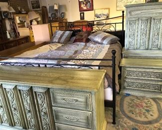 King size sleep number with dresser, night stand and more storage.