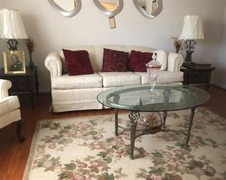 Beautiful  Thomasville cream sofa, loveseat, wing chairs  and floral area rug.  (Mirrors not available)