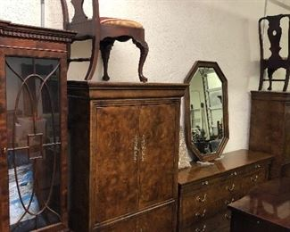 Charles X by Henredon Bedroom Suite: King Sleigh Bed, Dresser w Mirror, Armoire,  and 2 Nightstands...Same stunning Burlwood w a High Gloss Finish and in pristine condition!