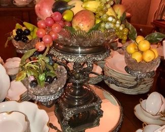 Epergne shown with vintage plastic fruit.