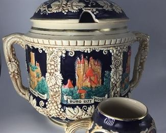 SP Gerz German Rhein Castles Hot Cider Punch Lidded Bowl Tureen with 8 mugs.  Circa 1950's.