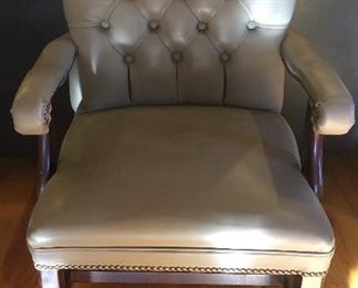 Leather tufted arm chair (4 total)