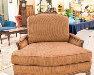 """We have two of these TAYLOR KING accent chairs!  So comfortable and big enough to hold more than one.  The seat cushions measure 36"""" wide."""