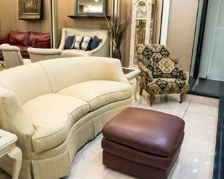 """This rounded sofa in our front window is very nice!  Approximately 76"""" wide."""